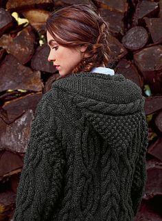 Ravelry: #13 Hooded Cable Jacket - Veste torsadée à capuche pattern by Bergère de France Knit Cardigan Pattern, Cable Cardigan, Jacket Pattern, Crochet Coat, Knitted Coat, Crochet Clothes, Free Aran Knitting Patterns, Cable Knitting