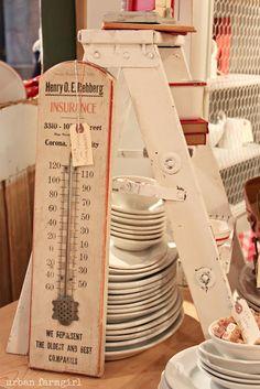 ladder display at vintage shop