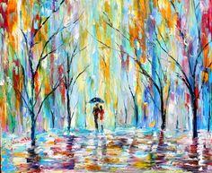 Original oil painting Rain Girl texture by Karensfineart on Etsy
