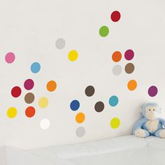 Peel and Stick Wallpaper, Wall Decals, Murals and More! Rainbow Room, Peel And Stick Wallpaper, Wall Decals, Dots, Kids Rugs, Home Decor, Stitches, Decoration Home, Kid Friendly Rugs