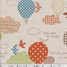 Allons á Paris - Air Travel - Orange, $16.95/yard
