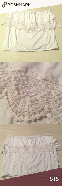 White Crochet Tube top! White Tube top with Crochet detail. Super soft and comfy. Great condition. Full Tilt Tops
