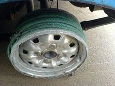 homemade wheel bearing puller. flat tires can be easily remedied with a garden hose. homemade wheel bearing puller