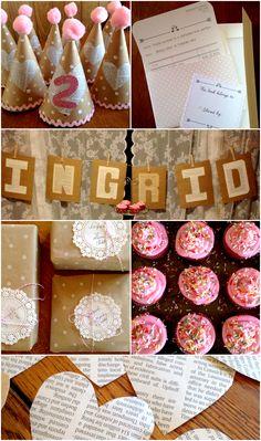 A Book Themed Birthday Party - Adorable DIY decor, homemade food, bookplate invites. So cute! via livingonloveblog.com