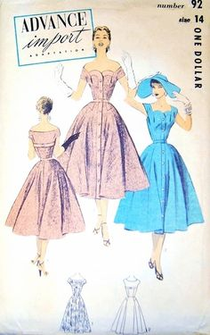 1950s Advance Import Adaptation Dress Pattern 92 Gorgeous Cocktail Party Dress Worn On or Off Shoulder Full Skirt Shaped Hip Yokes Perfect For lace Fabric Bust 32 Vintage Sewing Pattern FACTORY FOLDED