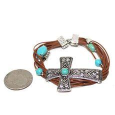 Turquoise Layered Western Cross Bracelet $16