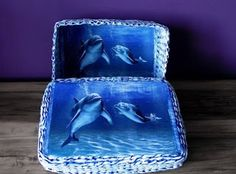 Papierowa wiklina Moniki koszyczek z delfinami Lunch Box, Bento Box