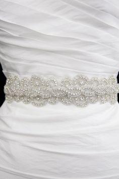 Swarovski Crystal Bridal Sash Belt  Haute Ice  by GlamHouse, $165.00
