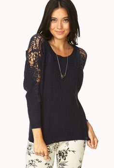296 Bold Crochet-Trimmed Sweater   FOREVER21 Dare to bebold #navy #winter #fall