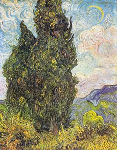 The Athenaeum - Cypresses (Vincent van Gogh - )