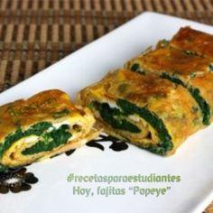 """#recetasparaestudiantes  Hoy, una receta sana y rica: Fajitas """"Popeye"""""""