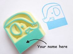 Elephant name stamp Kids gift idea Baby by JapaneseRubberStamps