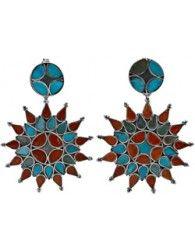 Twin Hued Inlay Flower Earrings