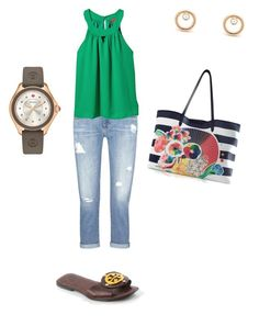 """""""Sin título #310"""" by shary-elivo on Polyvore featuring moda, AG Adriano Goldschmied, Hive & Honey, Michele, Tory Burch y Mary Katrantzou"""