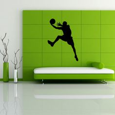 Basketball Player Sports Man With The Ball Wall Vinyl Decal Art Design Murals Interior Decor Sticker SV691
