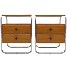 View this item and discover similar for sale at - Wonderful pair of Bauhaus era bedside tables in veneered elm, each with two drawers and two shelves, tubular frames of chrome-plated metal. Antique Furniture, Bedroom Furniture, Modern Furniture, Bauhaus, Chrome Plating, Art Deco, Mid Century, Shelves, Antiques