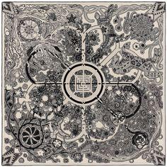 2015 FW | L'Arbre du Vent | Shawl in 70% cashmere and 30% silk (140 x 140 cm) | Montserrat Gonzales-Lugo | Ref. : H242882S 02 Naturel/Noir/Naturel | €895