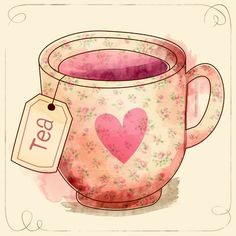 love tea cup with tag - Art Print Tea Cup Art, My Cup Of Tea, Tea Cups, Tea Illustration, Digital Illustration, Tea Quotes, Cuppa Tea, Chiaroscuro, Tea Time