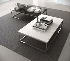 Prairie Temahome coffee table with marble top and chrome legs