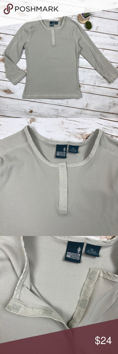 "Fossil Gray Silky Stretch 3/4 Thermal Henley XL Fossil Ladies Gray Silky Stretch 3/4 Thermal Henley Top, XL. Excellent condition, no flaws or signs of wear. Super stretchy, perfect for layering with Velcro chest split. 92% nylon, 8% spandex. Bust- 38""-44"", Bottom hem- 34""-48"", Length- 23.5"". Fossil Tops Tees - Long Sleeve"