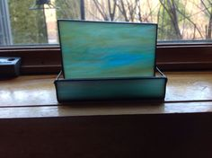 Stained Glass Green Wispy Business Card Holder Card by LaGlasSea
