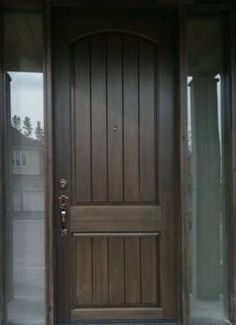 Arch Plank Square Top Rustic Fiberglass Door with 2 Sidelights ...