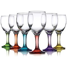 Home Essentials and Beyond Carnival Six-Piece Wine Glass Set ($17) ❤ liked on Polyvore featuring home, kitchen & dining, drinkware, coloured wine glasses, glass wine glasses, glass drinkware, colored glass wine glasses and wine glass set