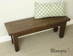 Reclaimed Wood Tapered Leg Bench Handmade Furniture by Blissopia