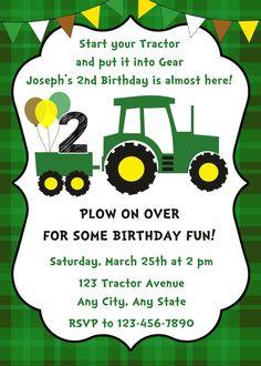 John Deere Inspired Tractor Birthday Invitation Green Tractor