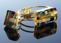 Handmade fused glass Bracelet and Ring using klimt method. I love glass.
