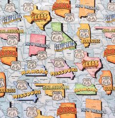 Route 66 State License Plates Brown Travel Map Handcrafted Curtain Valance
