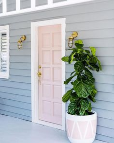 Home renovation not only helps in enhancing the overall appearance of the living place but also adds strength to the property. Astounding Home Renovation Ideas Interior and Exterior Ideas. Front Door Plants, Front Door Colors, Front Door Decor, White Front Doors, Front Door Lighting, Grey Houses, Pink Houses, Home Renovation, Exterior Paint