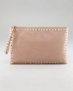 V15AR Valentino Rockstud Leather Clutch Bag