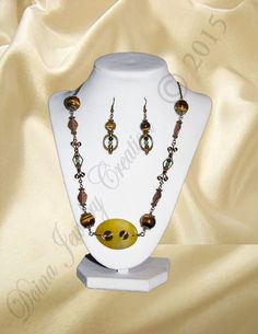 Tiger Eye, Amber, Aventurine via DJC - Handmade jewelry. Click on the image to see more!