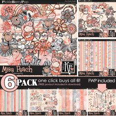 Miss Peach {6-Pack Plus FWP} Digital Scrapbooking Collection by Kathryn Estry @ PickleberryPop  (A Pickle Barrel Collection - Jan 2017)