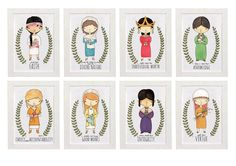 Set of 8 Women of the Scriptures 5x7  YW Values LDS