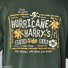 """Hurricane Harrys Beachside Bar - Santa Cruz CA"" T-shirt 2XL Cocktails Mai Tai, Mojito, Zombie, Pina Colada.."