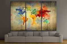 vintage world map №3221