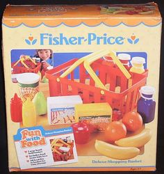 Accessories: Playset ~ Kitchen _ Fun with Food = Deluxe Shopping Basket - 1990's