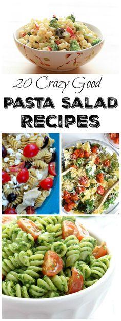 20 Crazy Good Pasta Salad Recipes - Perfect for Parties Best Salad Recipes, Potluck Recipes, Pasta Recipes, Dinner Recipes, Cooking Recipes, Summer Recipes, Creamy Pasta Salads, Best Pasta Salad, Pasta Salad Italian