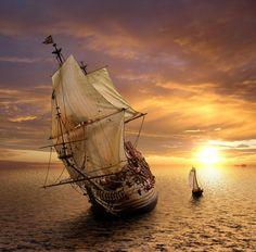 Juillet, tall sail ship