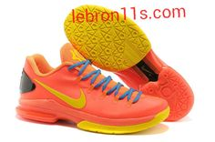 Lebron11s.com Wholesale Kevin Durant Sneakers V Low KD 5 Elite Team Orange Photo Blue Yellow Thunder 585386 800 Discount To $62.49