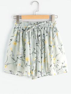 1431168eb3 Shorts fruncido estampado de margarita de los prados de cintura con  cordón-Spanish SheIn(