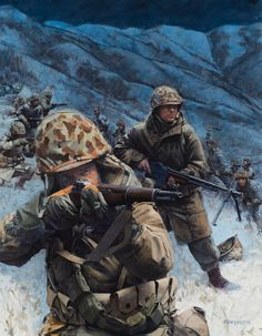 Frozen- US Marines battling the communists in Korea- by Ken Smith Marine Corps History, Us Marine Corps, Military Art, Military History, Military Jackets, Military Green, Military Fashion, Military Drawings, Us Marines
