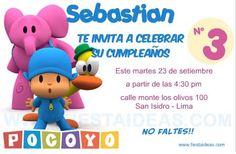 Invitaciones de cumpleaños de Pocoyo 2 Gratis - Fiestaideasclub.com