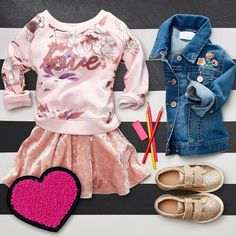 Toddler girls' fashion  | Kids' fashion | Pullover | Velvet Dress | Embroidered denim jacket | Sneakers | Back-to-school | The Children's Place