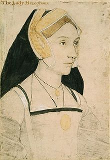 Portrait of Mary, Lady Heveningham. c. 1532-43, Hans Holbein the Younger. Mary was a maid-of-honour and poet. She was the daughter of Sir John Shelton and Anne Shelton (1475–1555), herself a daughter of William Boleyn and Margaret Butler. Her mother's brother was Thomas Boleyn, father of the queen Anne Boleyn; therefore, she and Anne were first cousins. Mary Shelton was a teenage maid-of-honour to her first cousin Anne Boleyn.