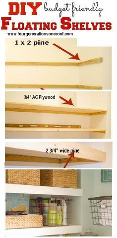 """DIY cubby area """"floating"""" shelves, Great use of storage above side by side washer and dryer"""
