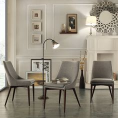 Sasha Grey Linen Upholstered Slope Leg Dining Chairs (Set of 2) | Overstock.com Shopping - Great Deals on Dining Chairs
