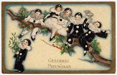 Chiostri Artwork Postcard Pierrot Dressed New Year Children w/ Champagne & Holly
